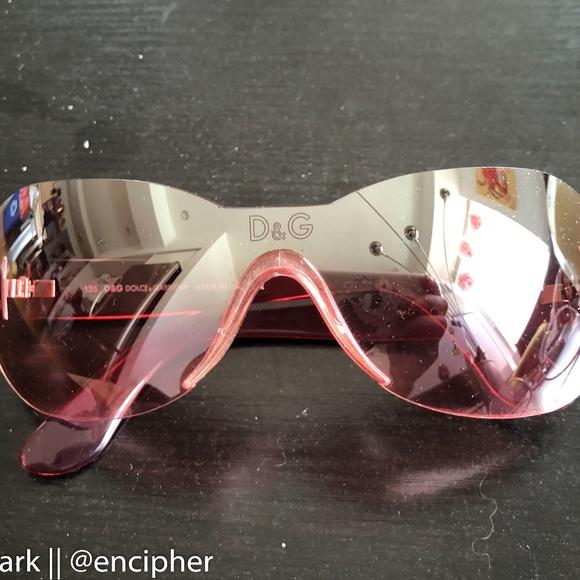 102afc5ba36c Dolce   Gabbana Pink Shield rimless sunglasses